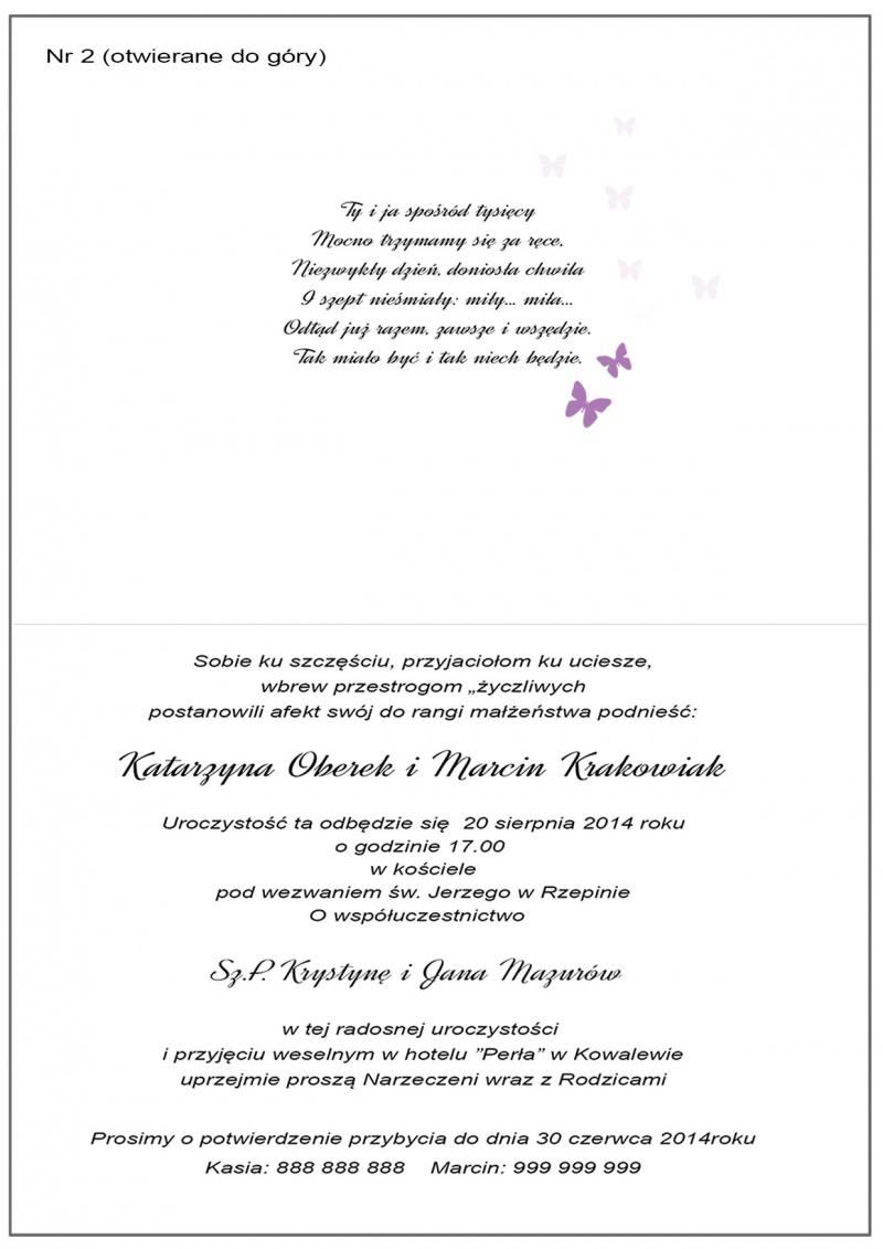 Wzory Wnętrz Zaproszeń ślubnych