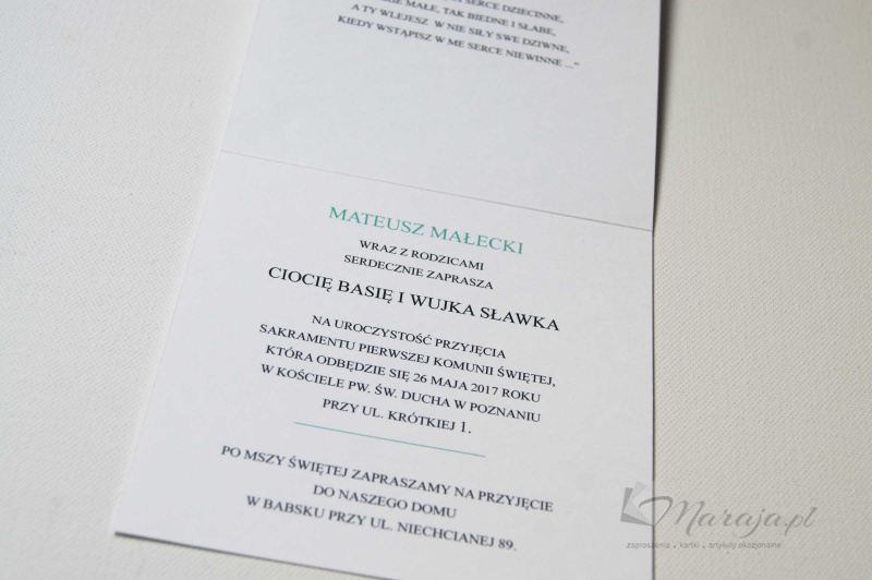Zaproszenia Zaproszenie Na Komunię św